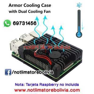 Case de Aluminio con doble ventilador (Raspberry Pi 3B) - Precio: 200Bs