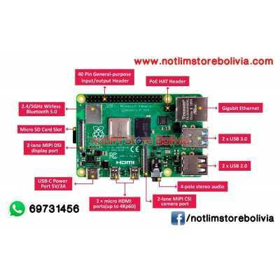 Kit Raspberry Pi 4 Modelo B (4GB RAM) - Precio: 850 Bs