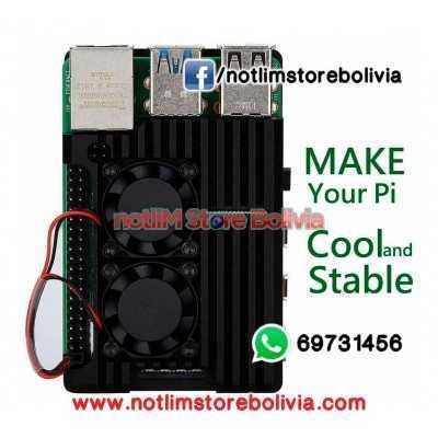 Case de Aluminio con doble ventilador (Raspberry Pi 4B) - Precio: 200Bs
